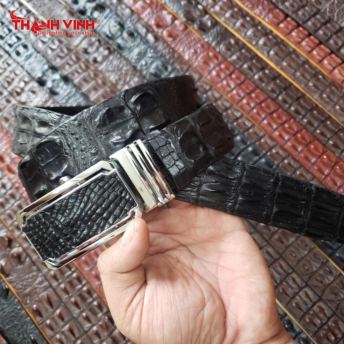 Dây nịt da cá sấu 2 gai giữa màu đen