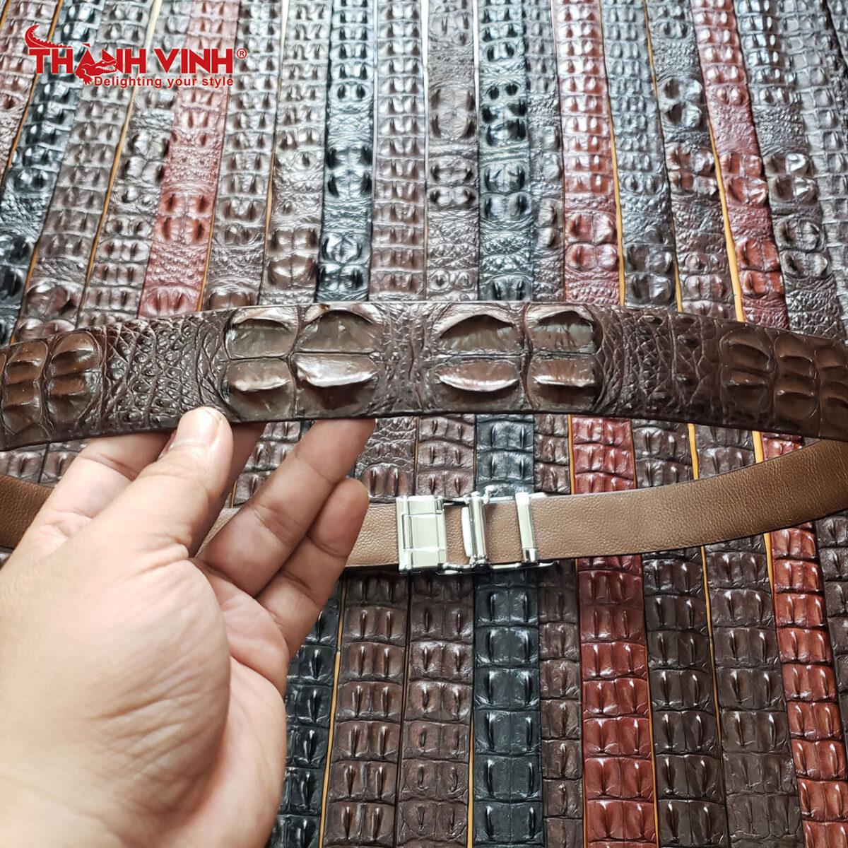Dây nịt da cá sấu 2 gai giữa màu nâu đất