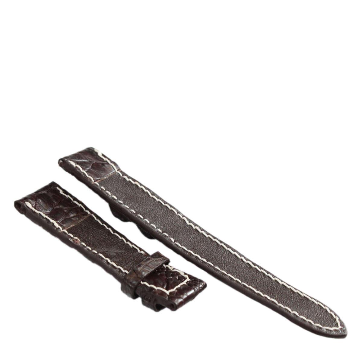 Dây đồng hồ da cá sấu may tay S931b