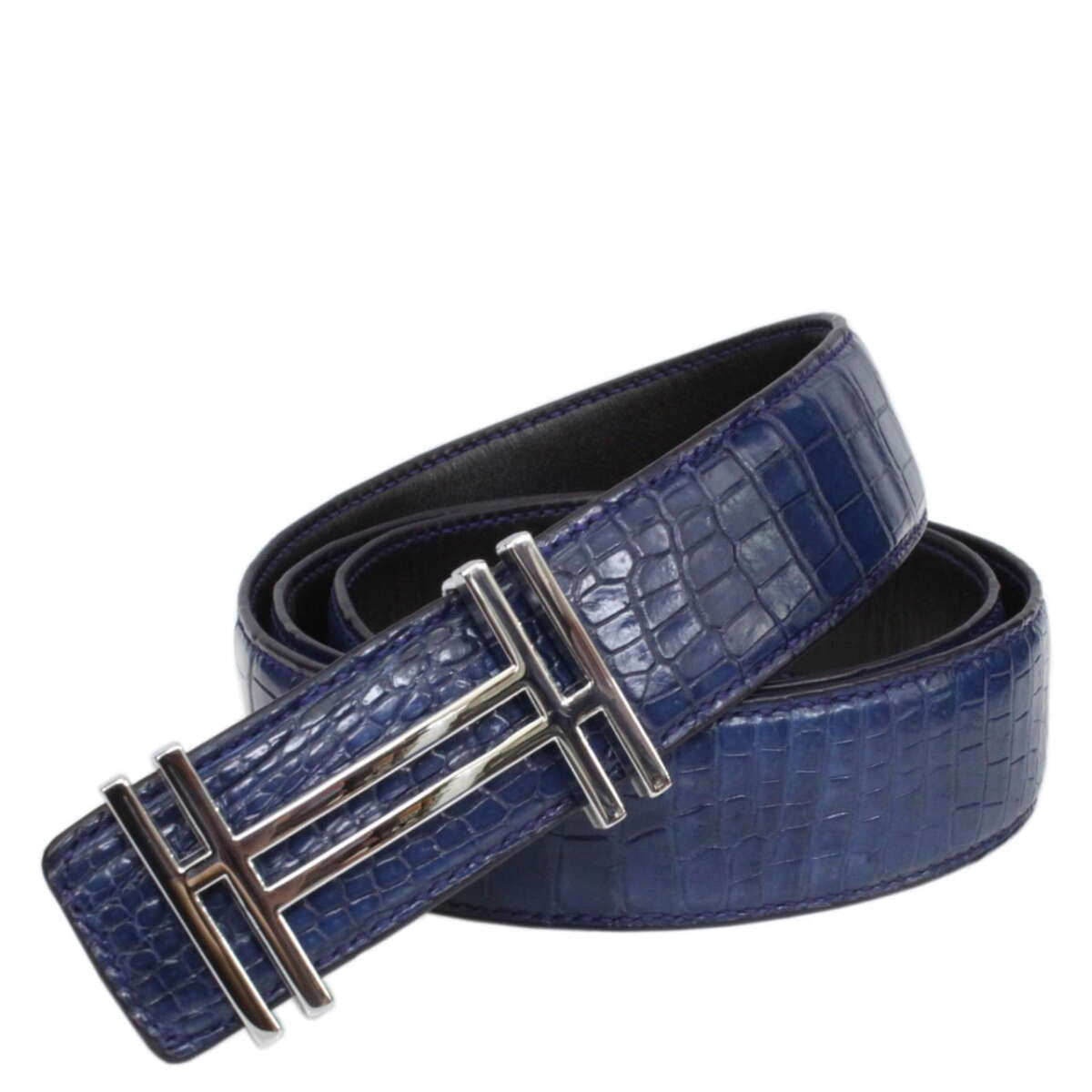 Hand-sewn crocodile leather belt S616a