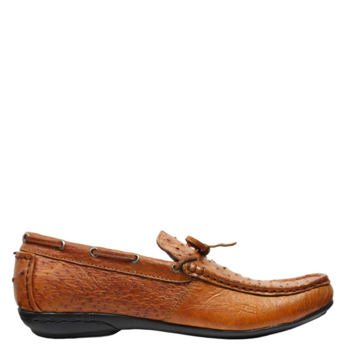 Giày lười nam da đà điểu E861c