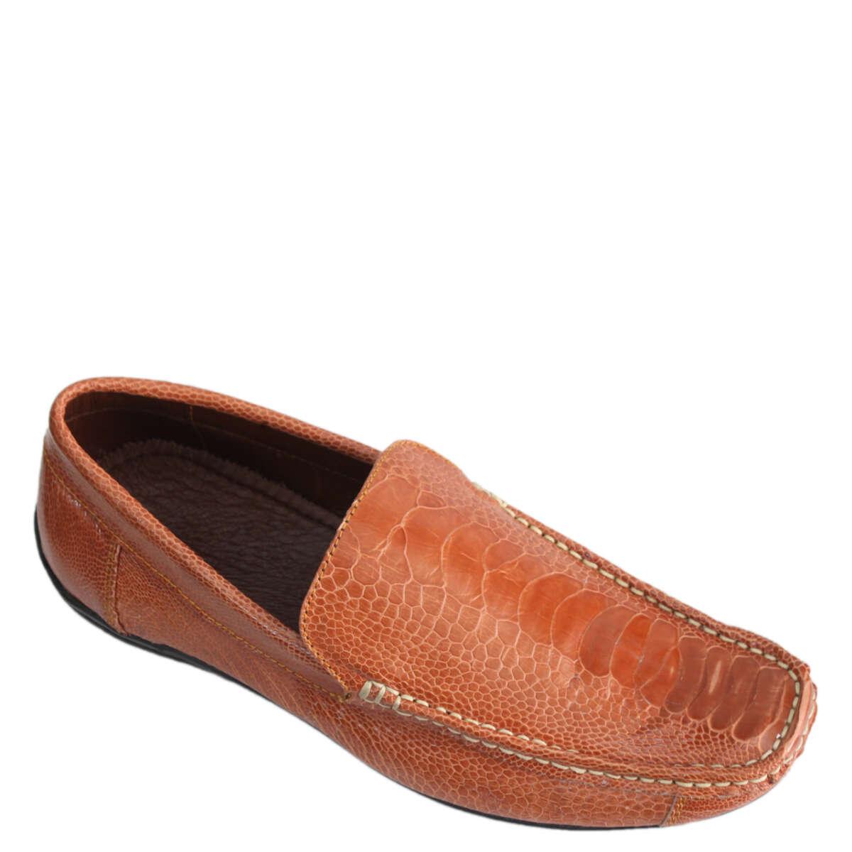 Giày lười nam da đà điểu E864a